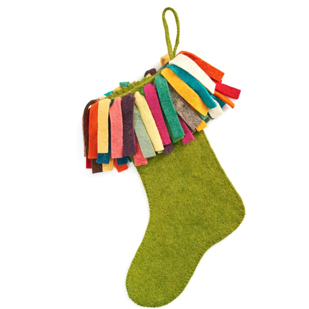 Hand Felted Wool Christmas Stocking - Multicolor Fringe on Chartreuse Green - Arcadia Home