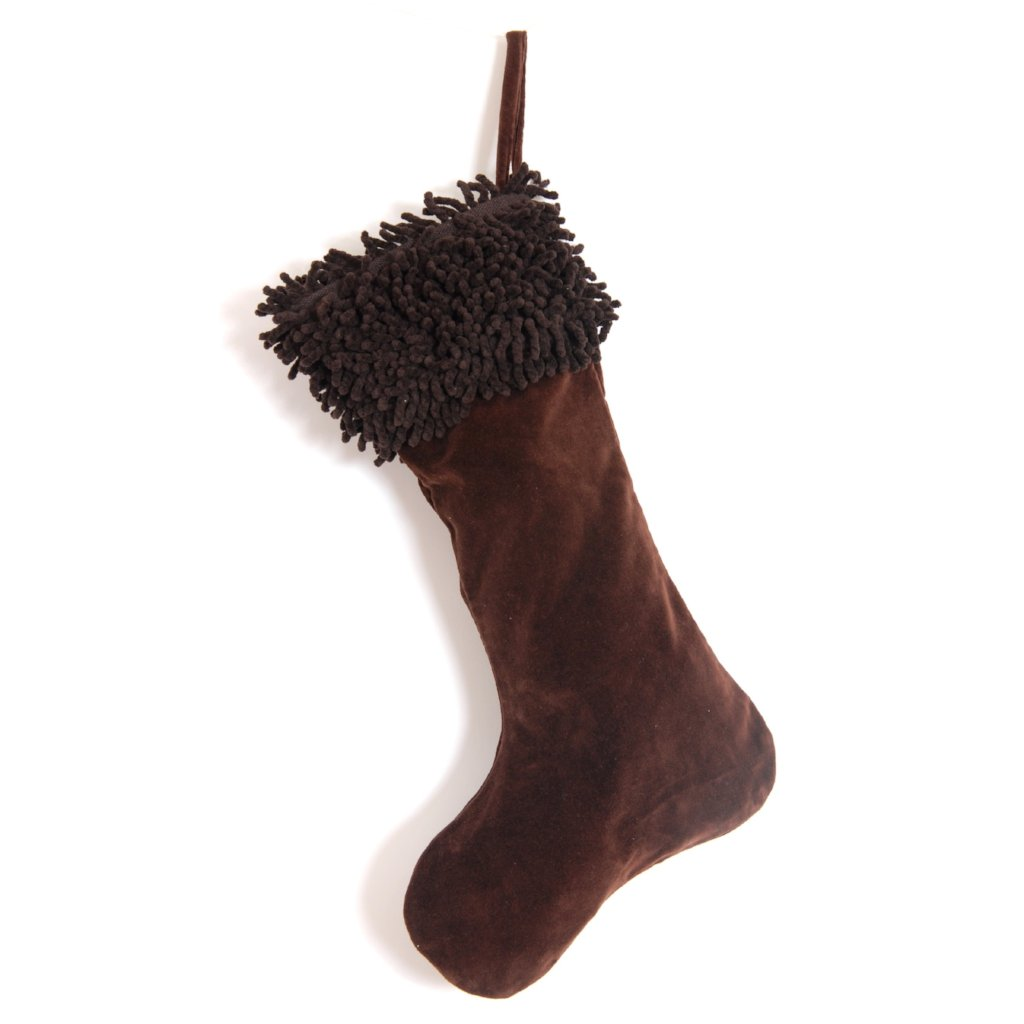 Cotton Velvet Christmas Stocking with Shag Cuff - Chocolate Brown
