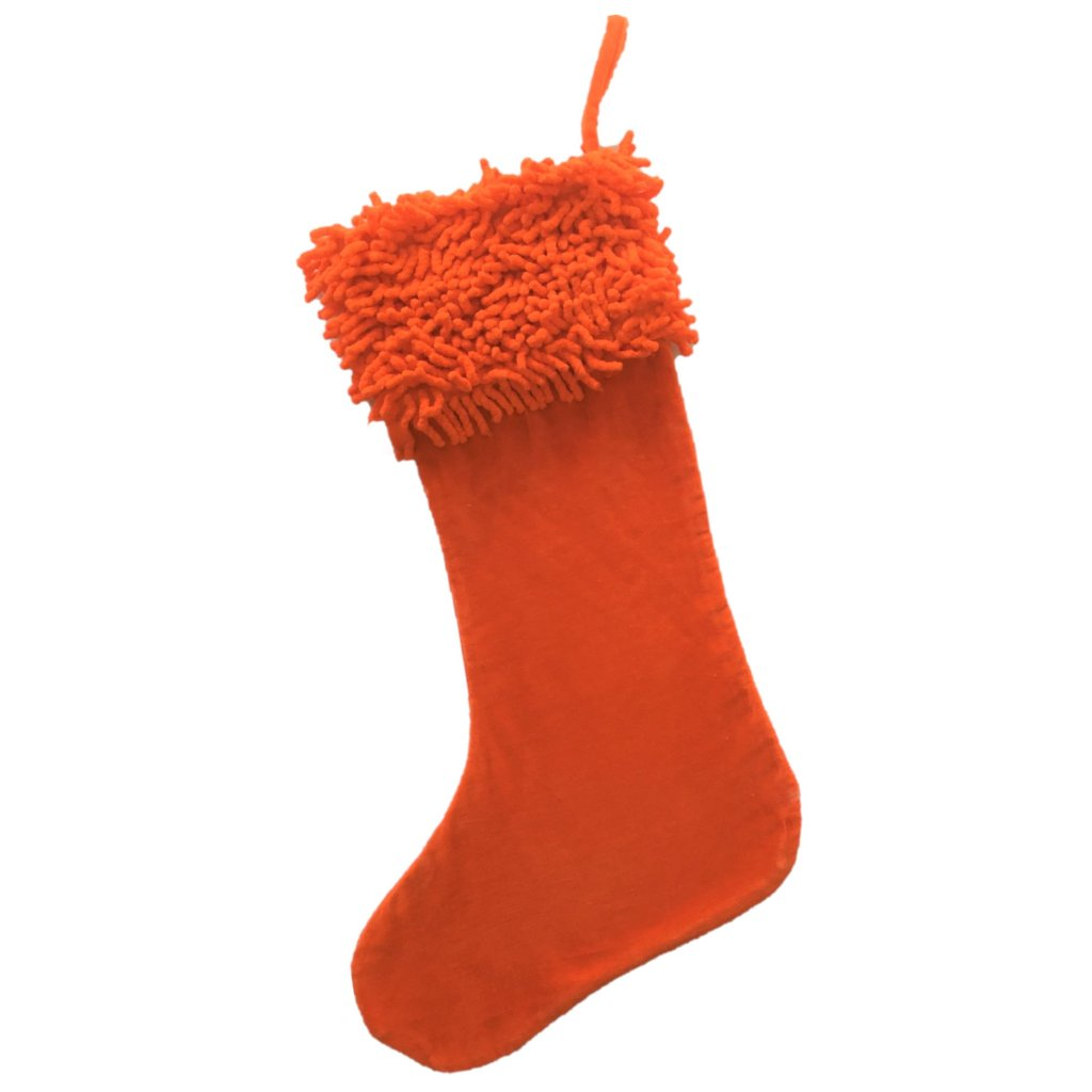 Cotton Velvet Christmas Stocking with Shag Cuff - Orange