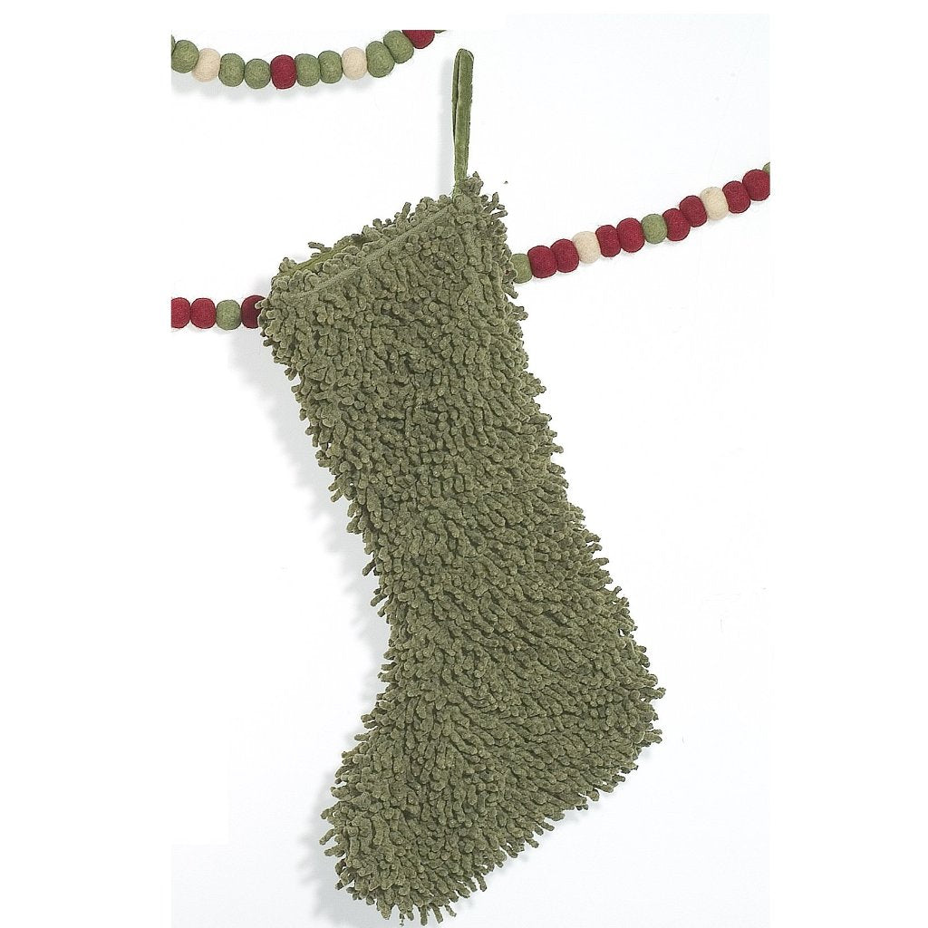 ade38a313 Cotton Christmas Stocking in Shag - Green – Arcadia Home