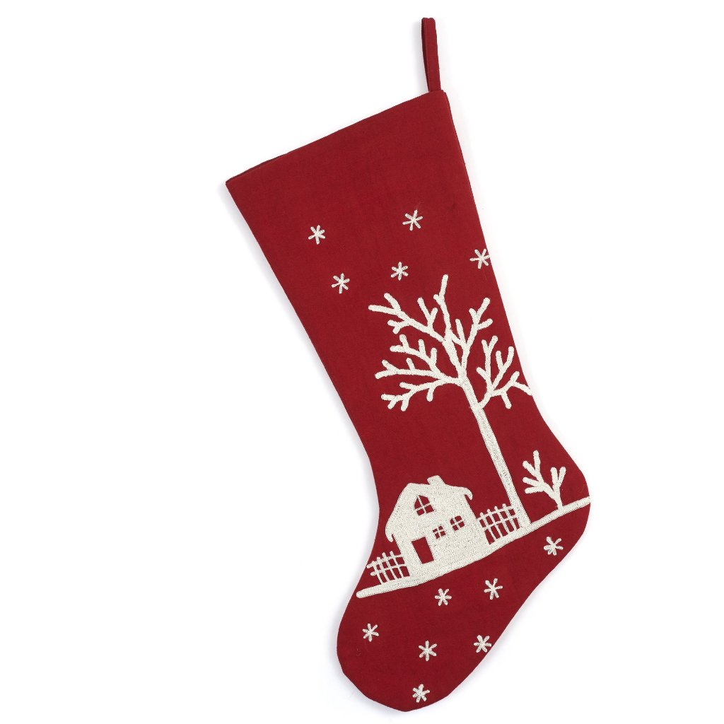 Handmade Christmas Stocking - Snowy Village Embroidered Scene on Red
