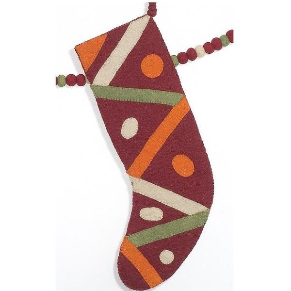 Hand Felted Wool Christmas Stocking - Dots and Stripes on Red