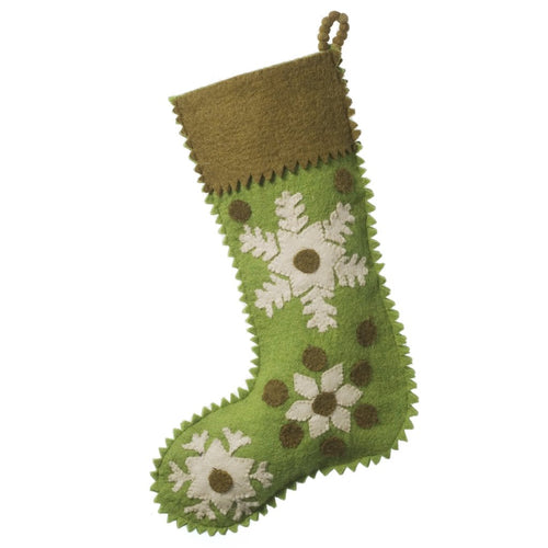 Hand Felted Wool Christmas Stocking - Green Snowflakes