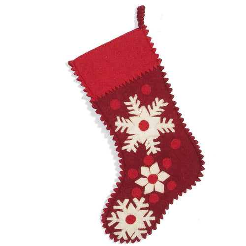 Hand Felted Wool Christmas Stocking - Snowflakes on Red