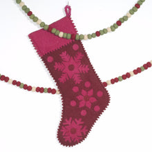 Hand Felted Wool Christmas Stocking - Pink Snowflakes on Red - Arcadia Home