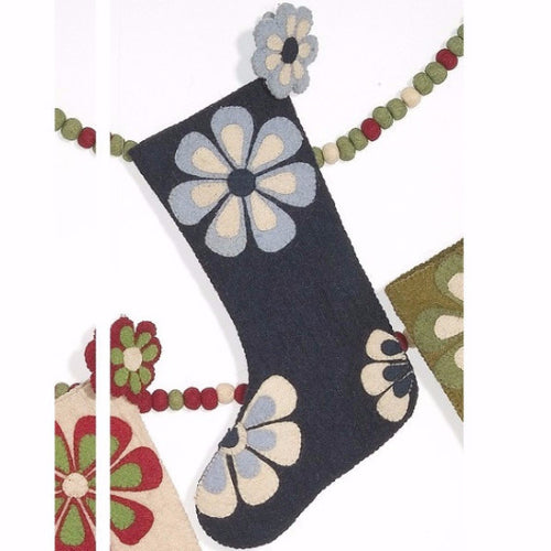 Flower Power Christmas Stocking in Blue - Arcadia Home