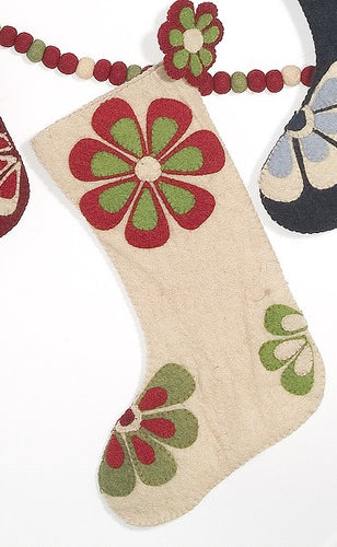 Flower Power Christmas Stocking in Ivory with Red and Green - Arcadia Home