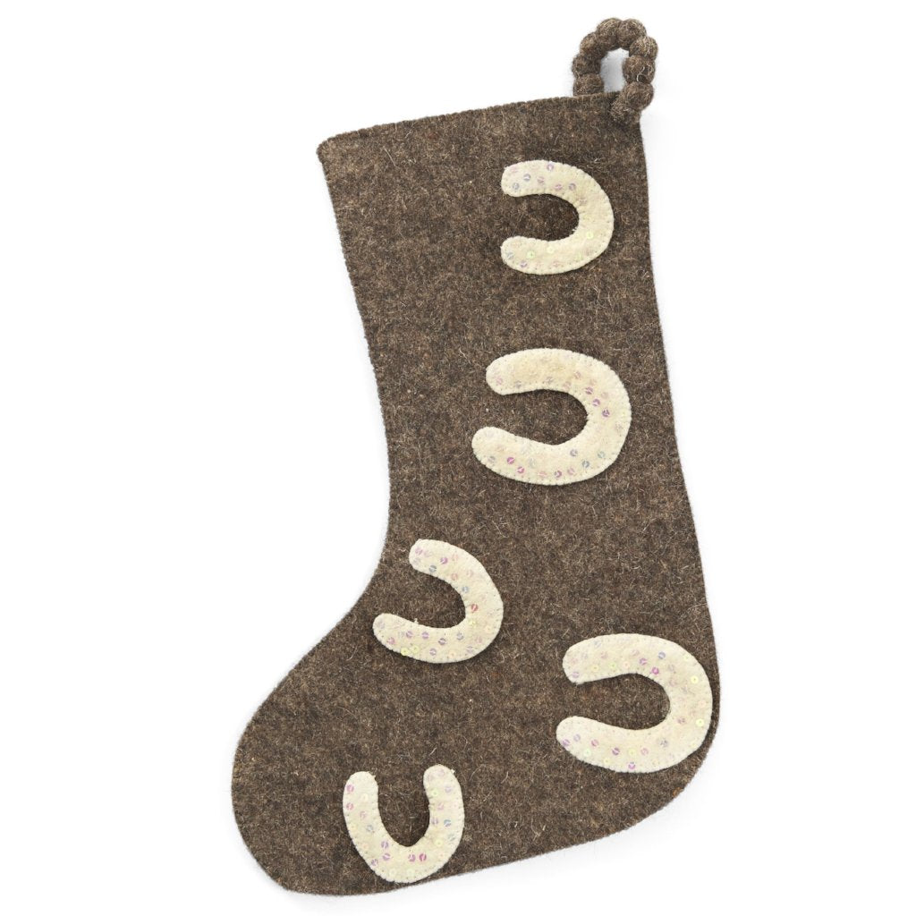 Hand Felted Wool Christmas Stocking - Sequined Horseshoes on Gray - Arcadia Home