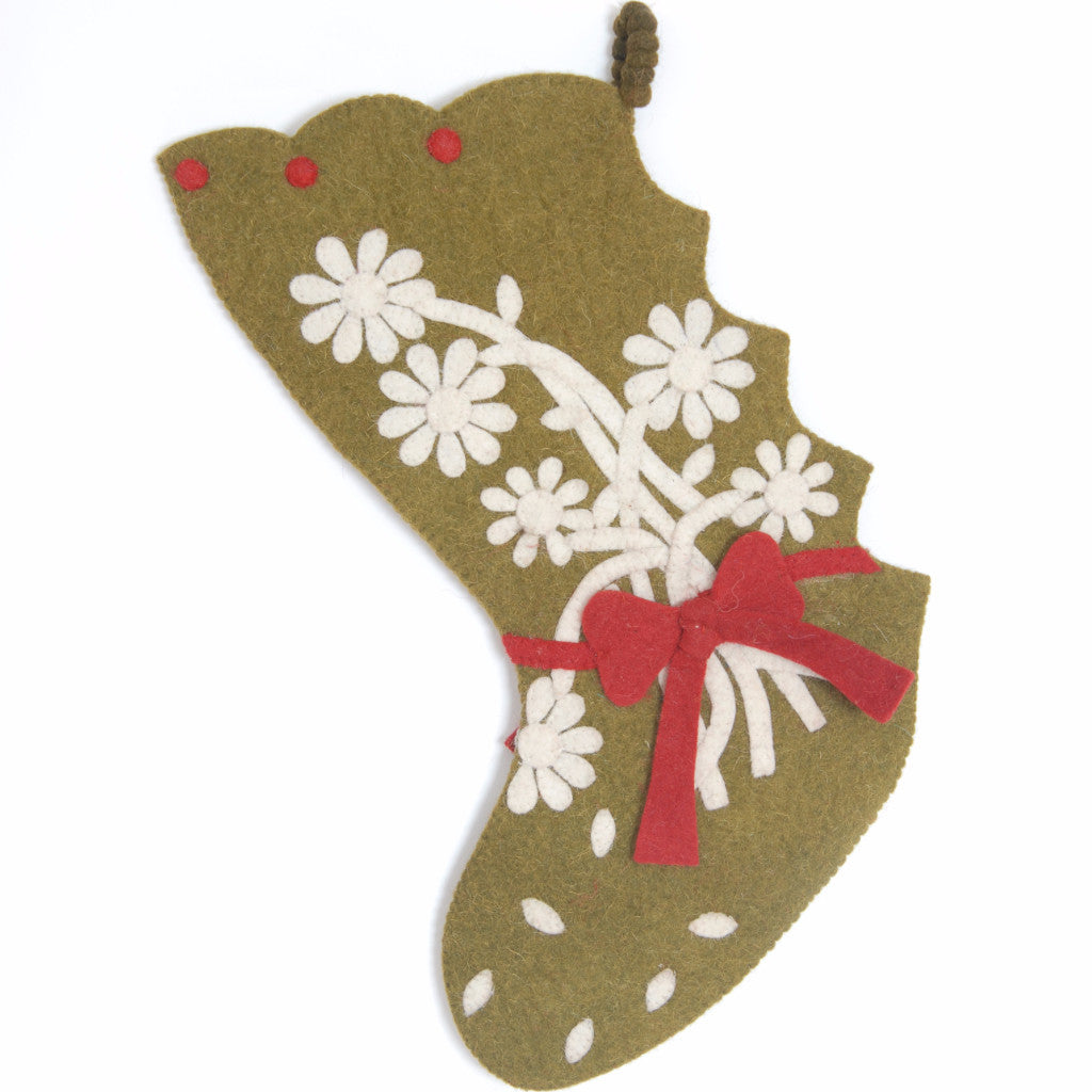 Hand Felted Wool Christmas Stocking - Flower Bouquet on Chartreuse - Arcadia Home