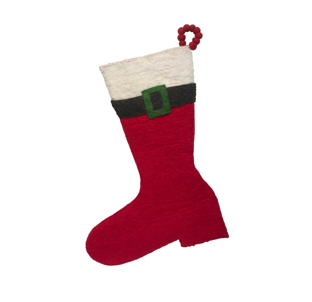Hand Felted Wool Christmas Stocking - Red Santa Boot - Arcadia Home