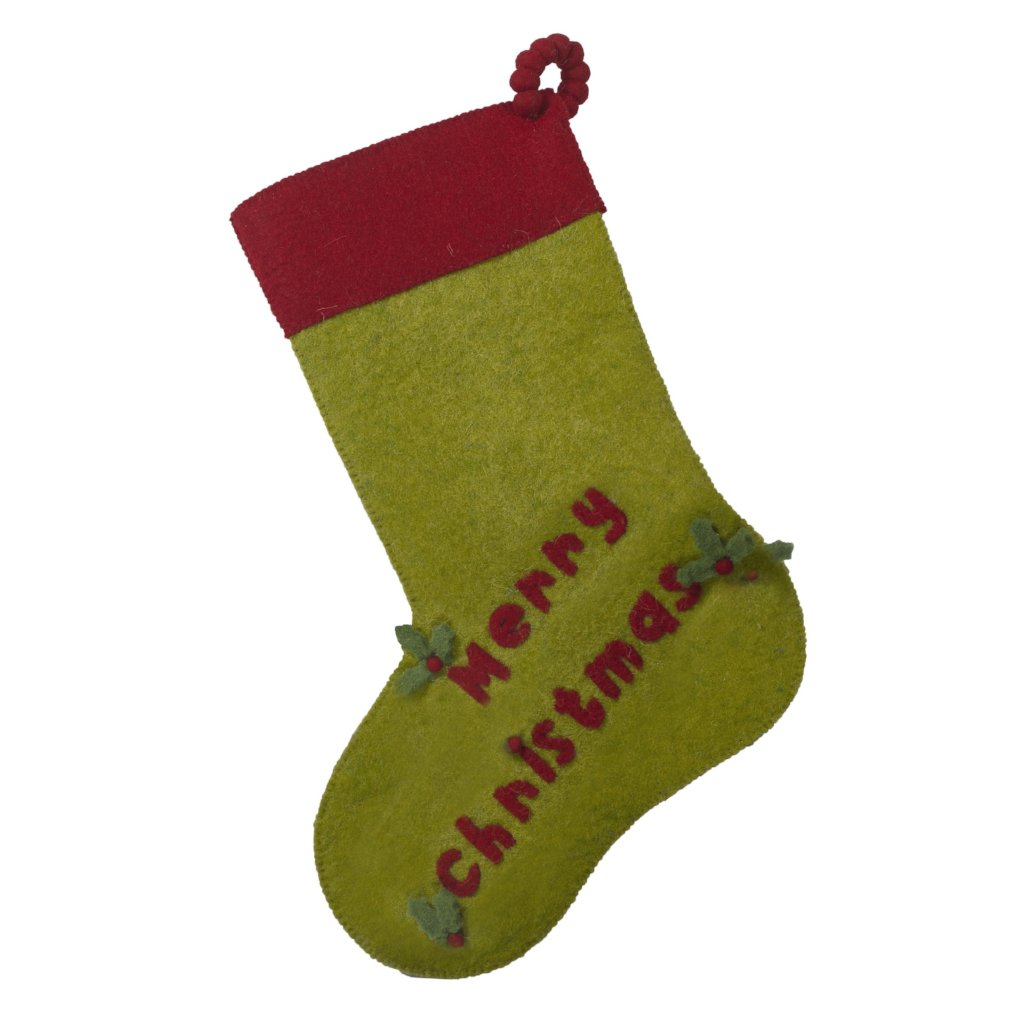 Hand Felted Wool Christmas Stocking - MERRY CHRISTMAS in Red and Green - Arcadia Home