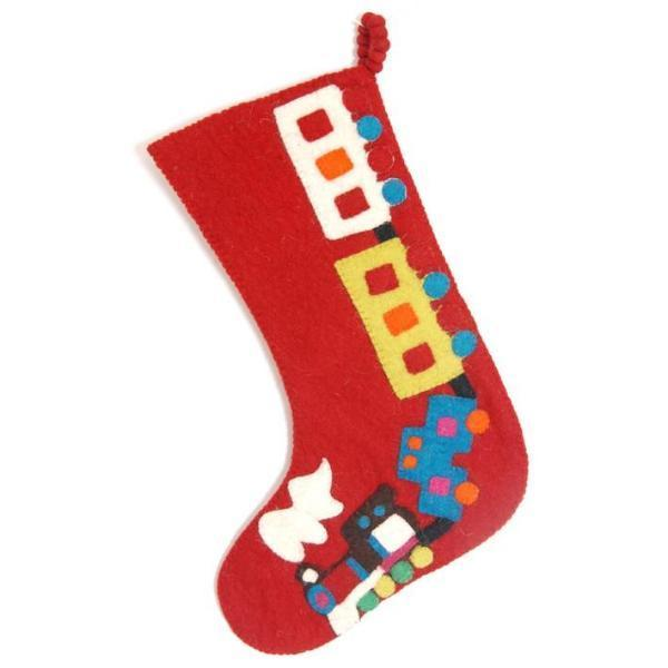 Hand Felted Wool Kids Christmas Stocking - Train on Red - Extra Large - Arcadia Home