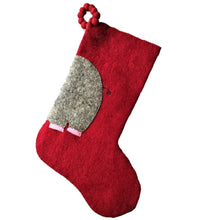 Hand Felted Wool Kids Christmas Stocking - Double Sided Elephant Stocking - Pink on Red