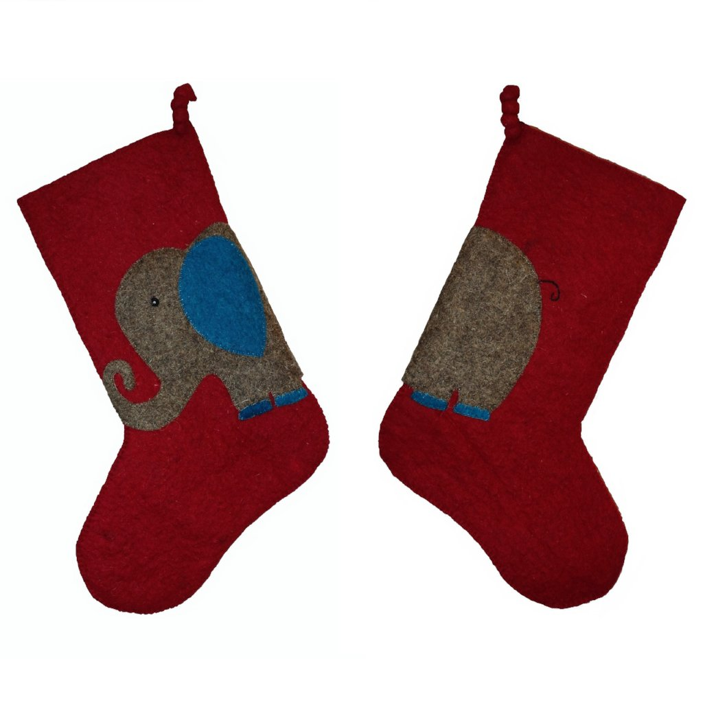 Hand Felted Wool Kids Christmas Stocking - Double Sided Elephant Stocking on Red