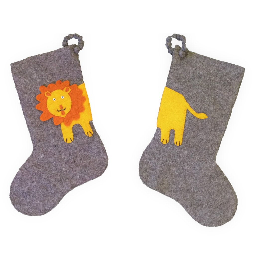 Hand Felted Wool Kids Christmas Stocking - Double Sided Lion Stocking on Gray - Arcadia Home