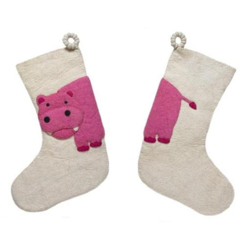 Hand Felted Wool Kids Christmas Stocking - Double Sided Pink Hippo on Cream