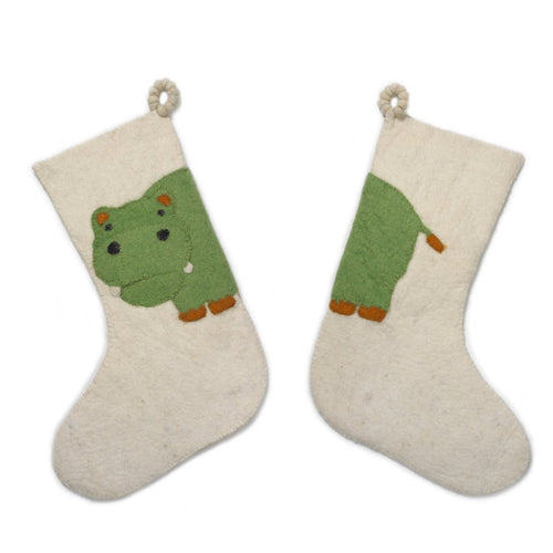 Hand Felted Wool Kids Christmas Stocking - Double Sided Green Hippo Stocking on Cream