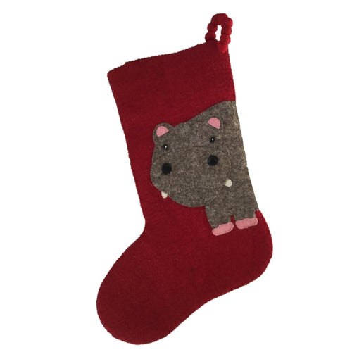 Hand Felted Wool Kids Christmas Stocking - Double Sided Pink Hippo on Red