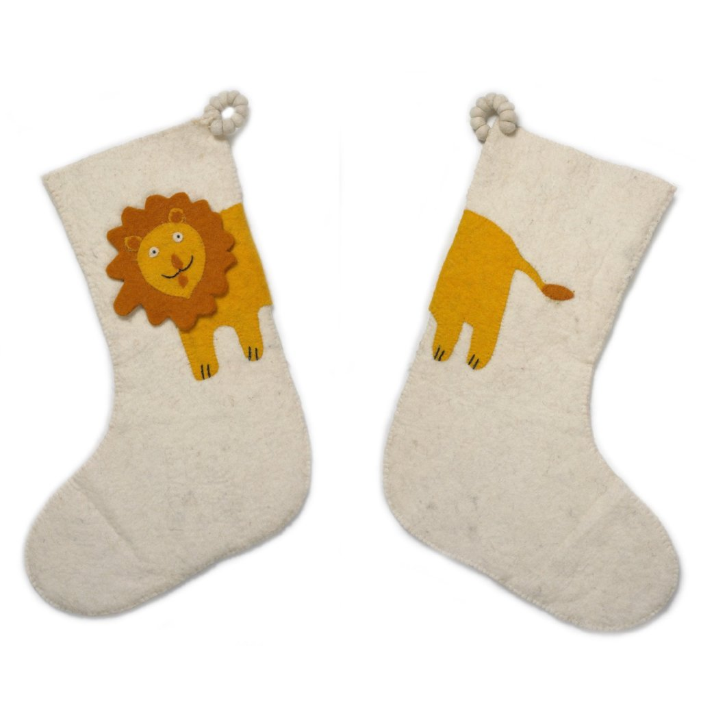 Hand Felted Wool Kids Christmas Stocking - Double Sided Lion Stocking on Cream