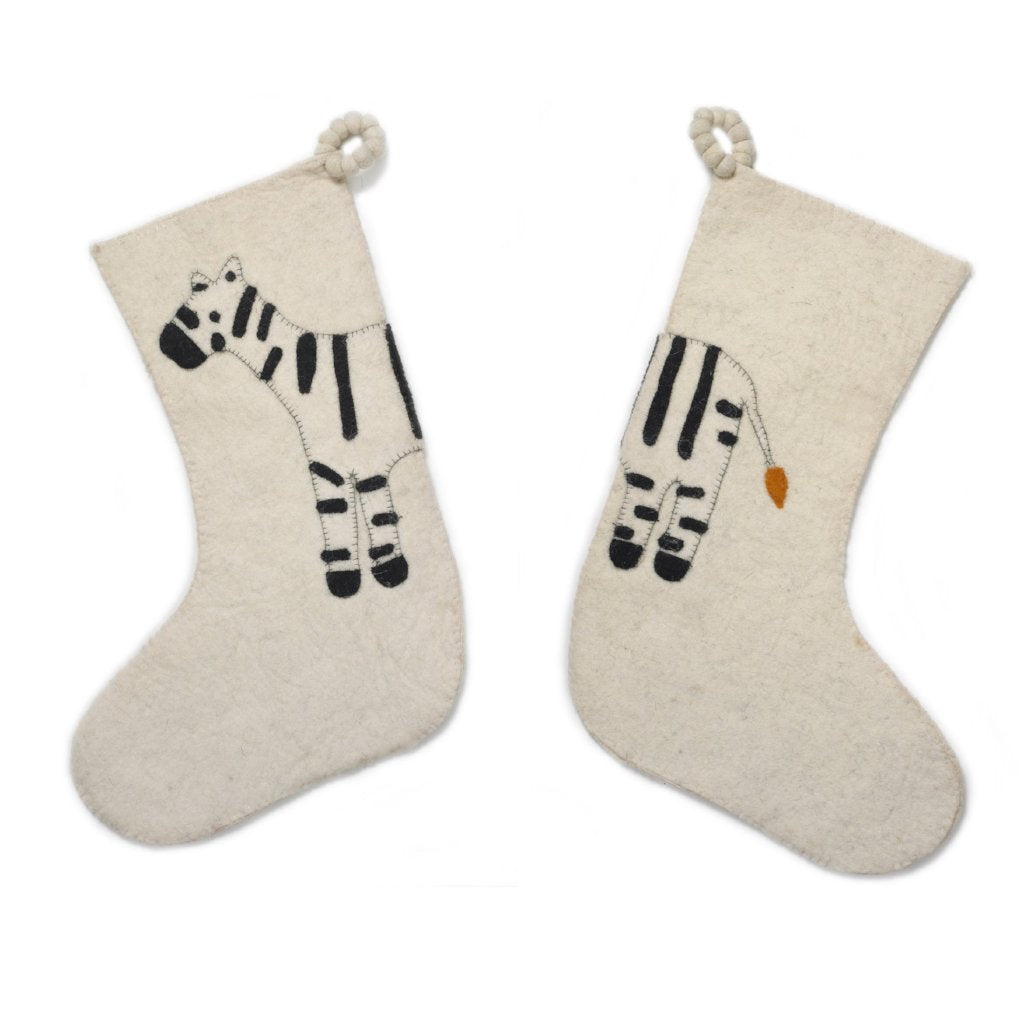 Hand Felted Wool Kids Christmas Stocking - Double Sided Zebra on Cream