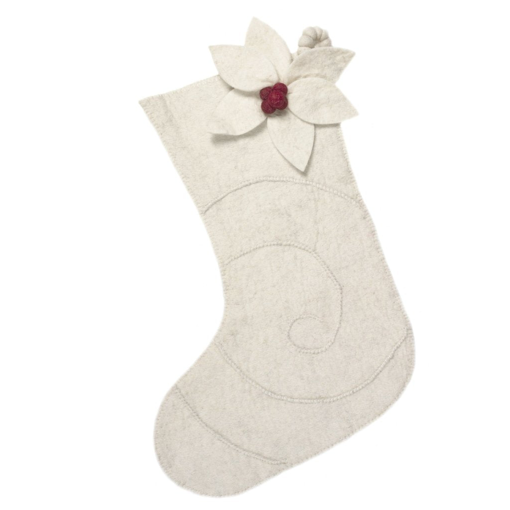 Hand Felted Wool Christmas Stocking - Poinsettia on Cream