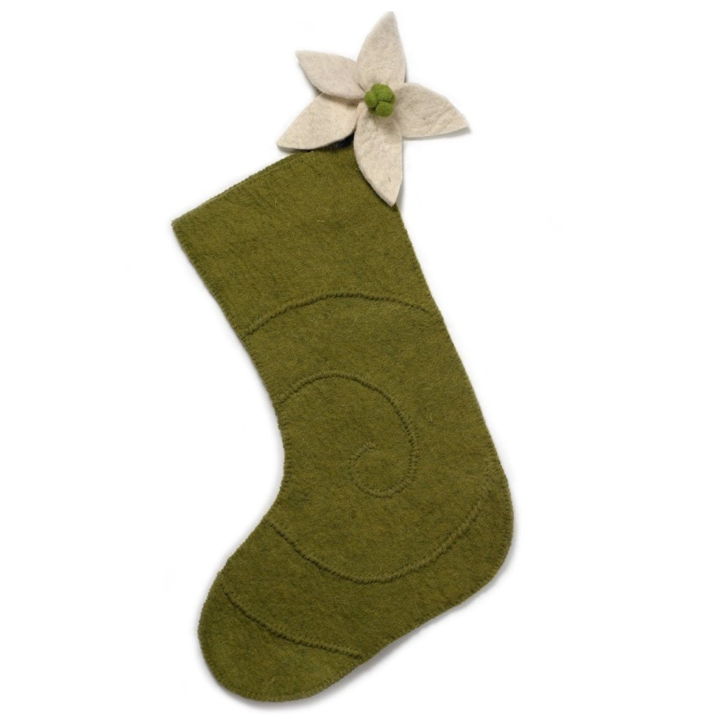 Hand Felted Wool Christmas Stocking - Poinsettia on Green