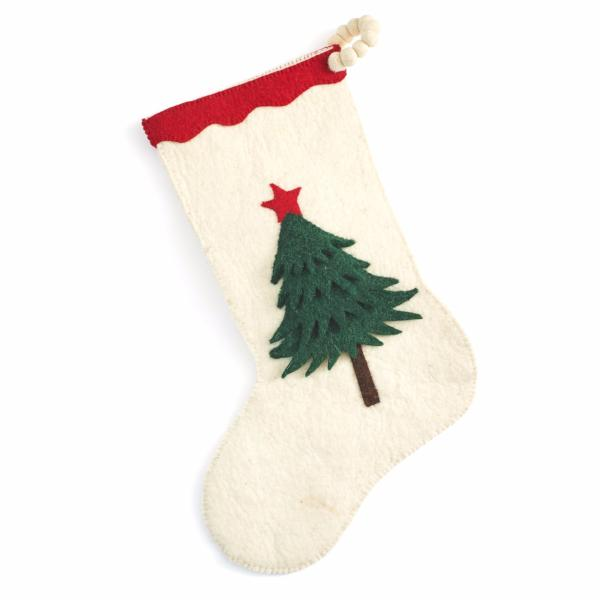 Hand Felted Wool Christmas Tree Stocking on Cream - Arcadia Home