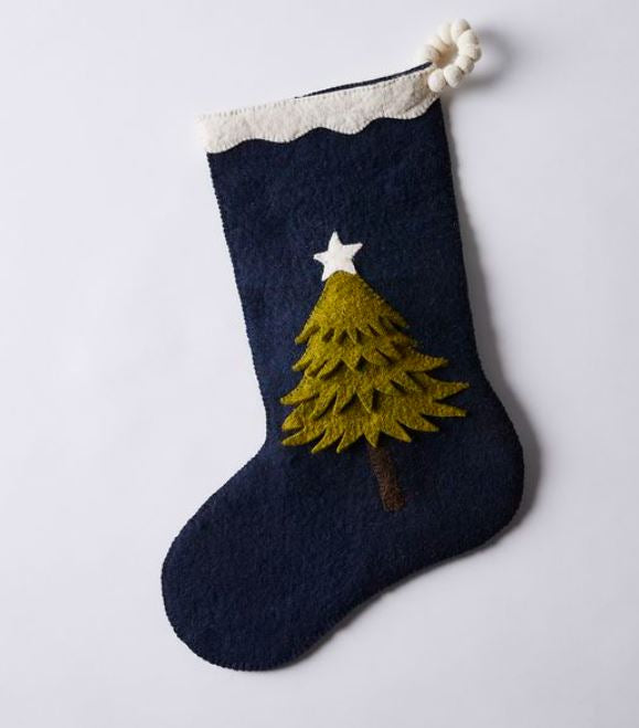 Hand Felted Wool Christmas Tree Stocking in Green on Navy