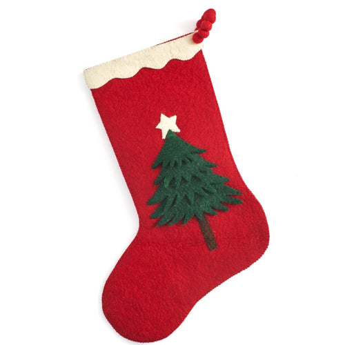 Hand Felted Wool Christmas Stocking - Tree on Red - Arcadia Home