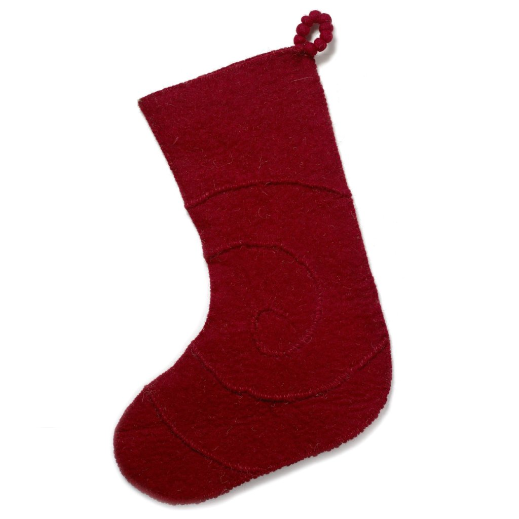 Hand Felted Wool Christmas Stocking - Spiral on Red