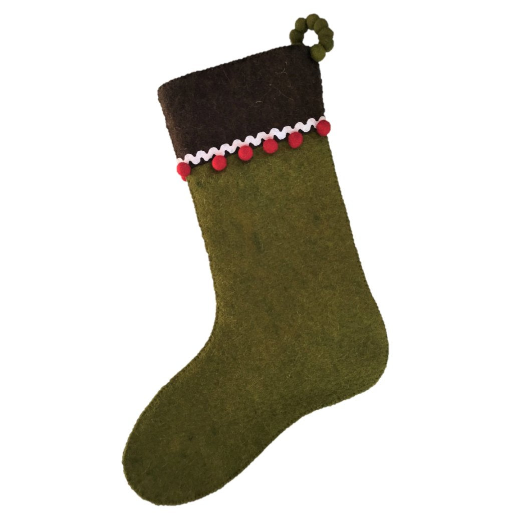 Hand Felted Wool Christmas Stocking - Gingerbread on Green