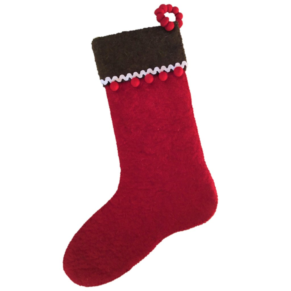 Hand Felted Wool Christmas Stocking - Gingerbread on Red - Arcadia Home
