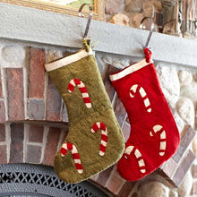 Candy Canes Christmas Stocking in Red - Arcadia Home