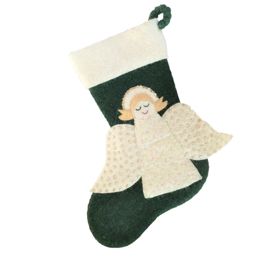 Hand Felted Wool Christmas Stocking - Angel on Green