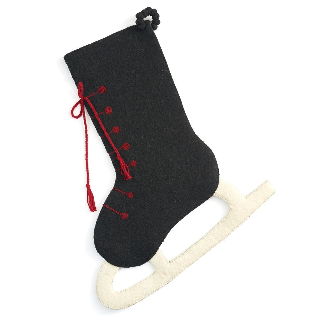 Hand Felted Wool Christmas Stocking - Black Skate with Red Laces