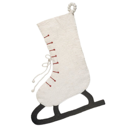 Hand Felted Wool Christmas Stocking - Cream Skate - Arcadia Home