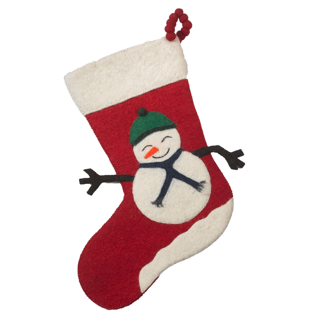 Hand Felted Wool Christmas Stocking - Beanie Snowman on Red