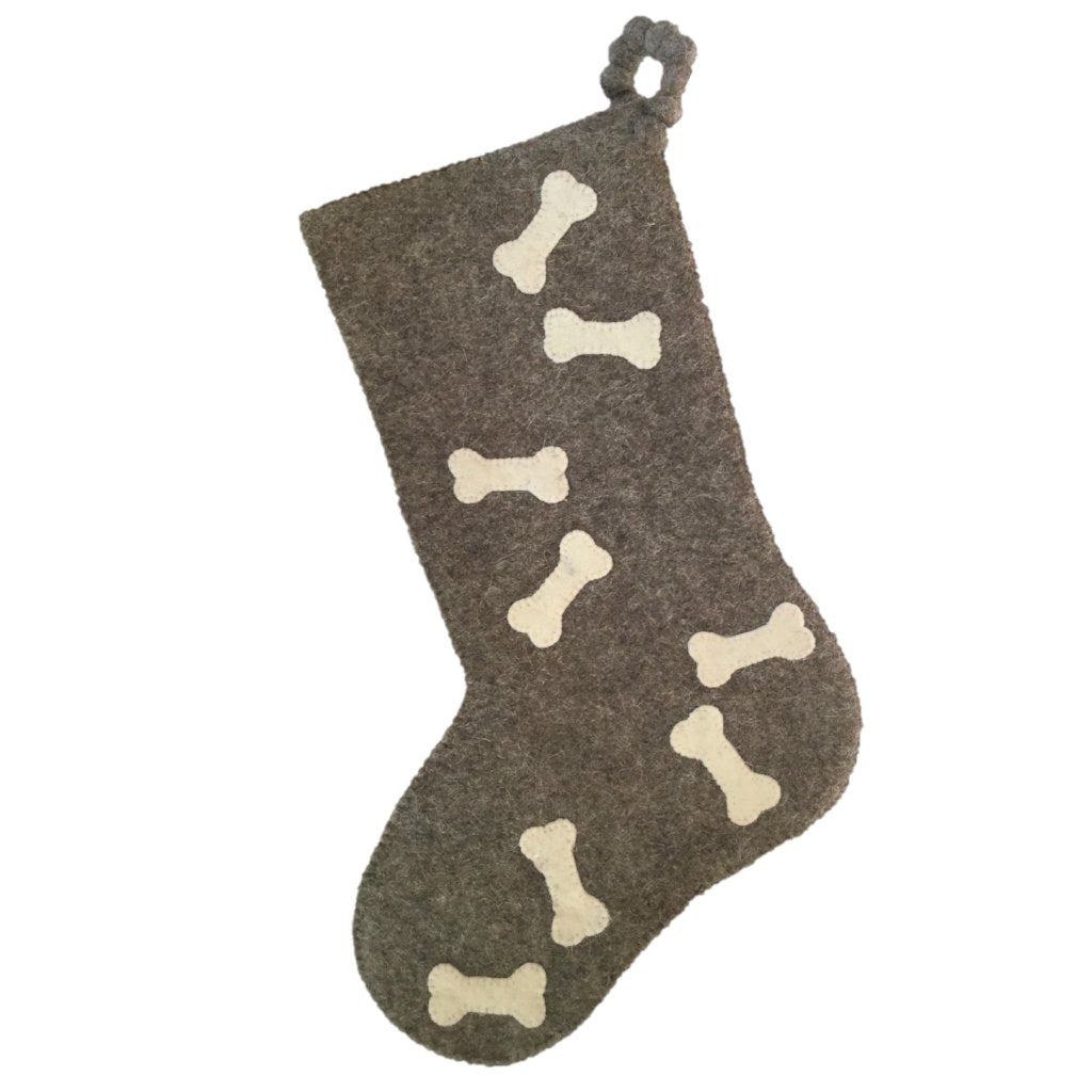 Hand Felted Wool Christmas Stocking - Bones on Gray