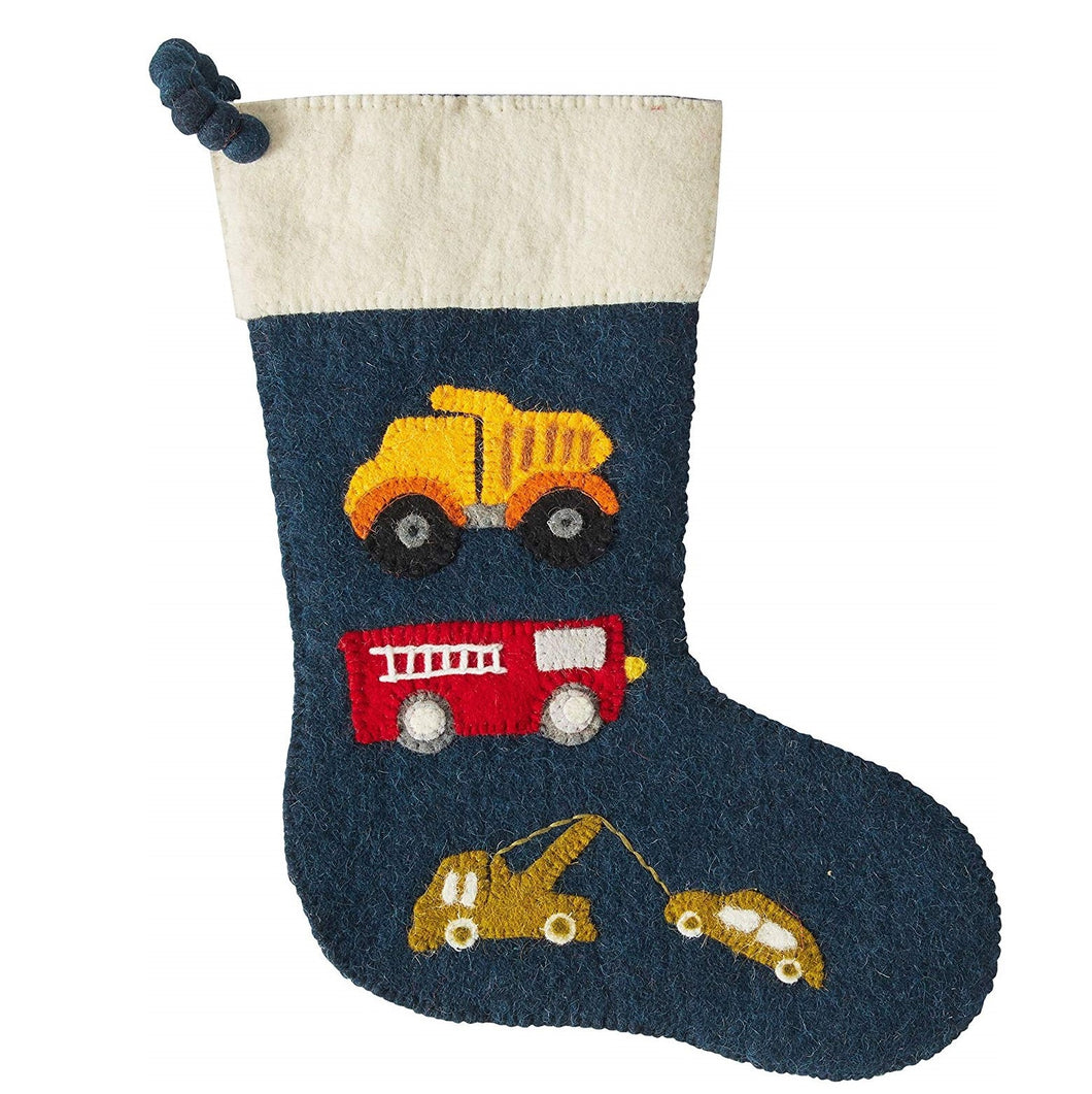 Trucks on Navy Christmas Stocking in Hand Felted Wool - Arcadia Home