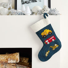 Trucks on Navy Christmas Stocking in Hand Felted Wool