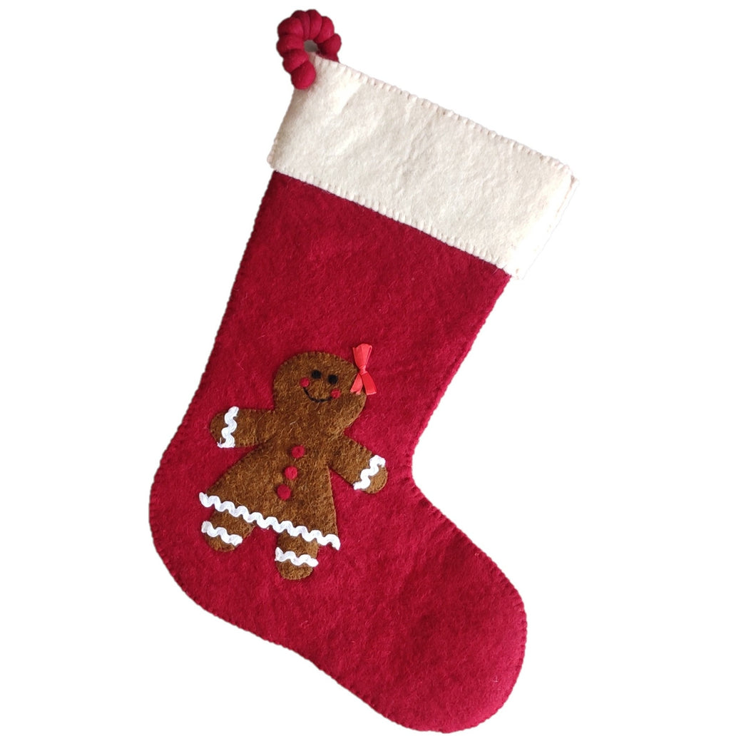 Gingerbread Girl on Red Christmas Stocking in Hand Felted Wool