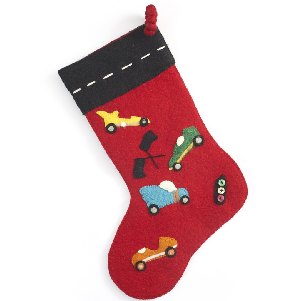 Hand Felted Wool Kids Christmas Stocking - Racecars on Red