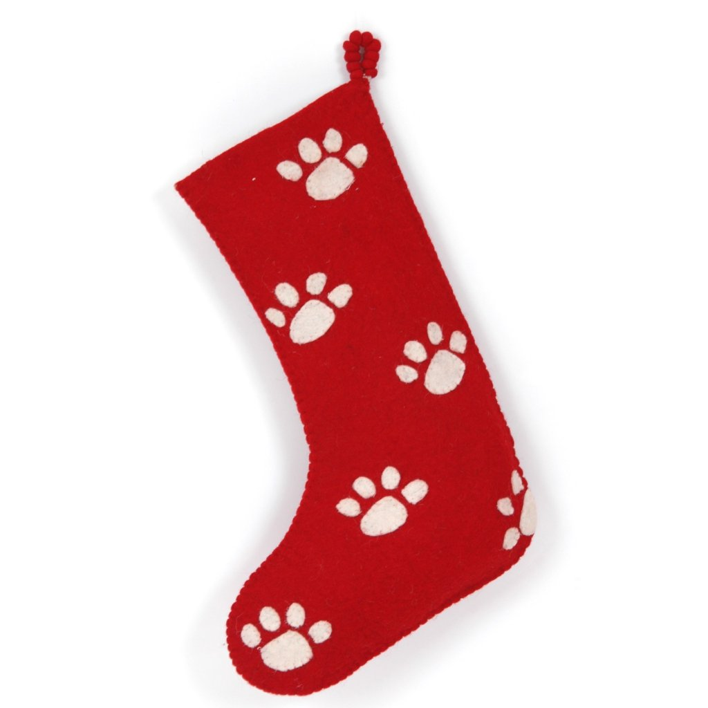Hand Felted Wool Christmas Stocking - Paw Prints on Red - Arcadia Home