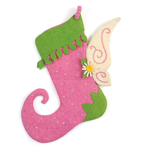Hand Felted Wool Christmas Stocking - Fairy Wings in Pink and Green