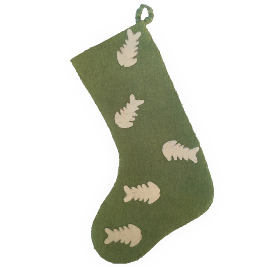 Hand Felted Wool Christmas Stocking - Fish on Green - Arcadia Home