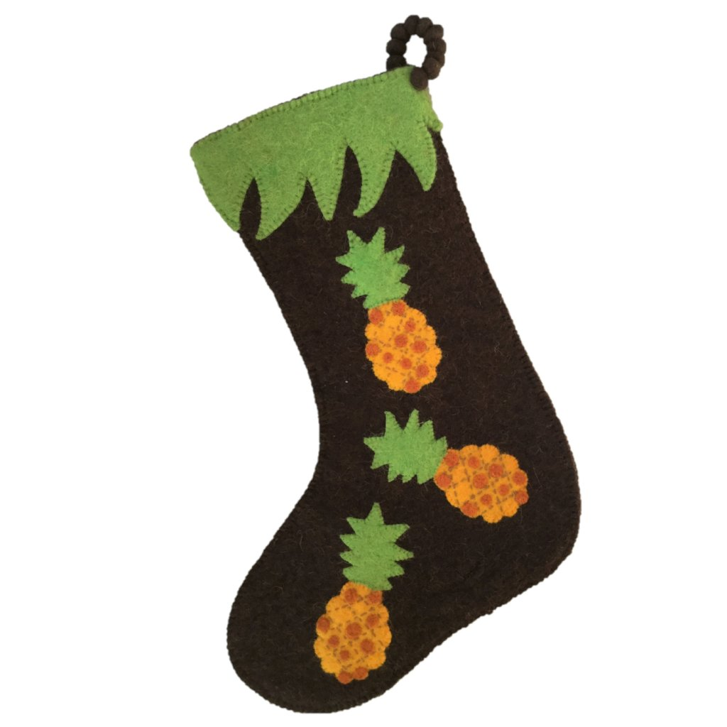 Hand Felted Wool Christmas Stocking - Pineapples on Brown - Arcadia Home
