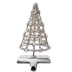 Pair of Handmade Stocking Holders - Silver Tree