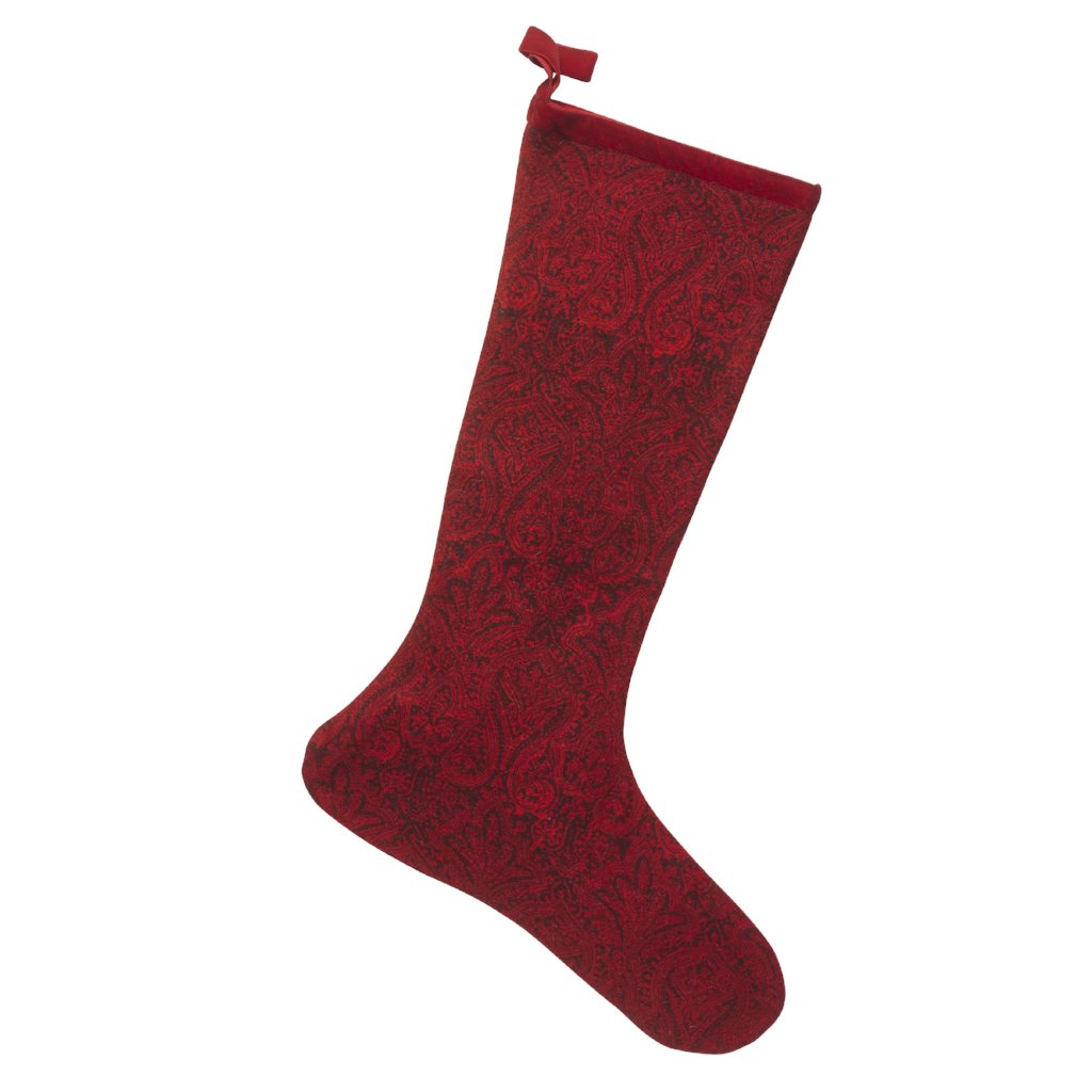 Wool Christmas Stocking in Red with Paisley Design - Arcadia Home