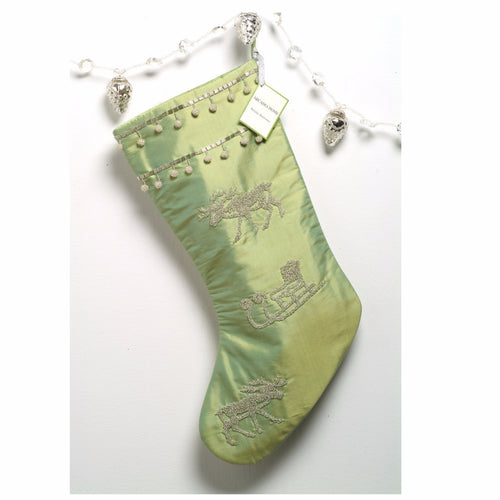 Green Silk Stocking with Hand Beaded Silver Moose - Arcadia Home