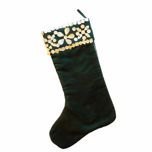Green Ultrasuede Stocking with Mother of Pearl - Arcadia Home